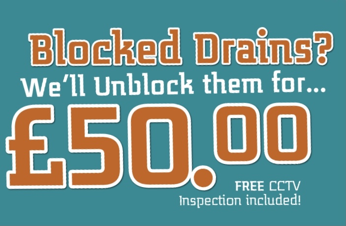 Blocked Drains Cleared For £50.00 PLus Free CCTV Survey